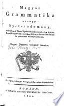Magyar grammatika 1818